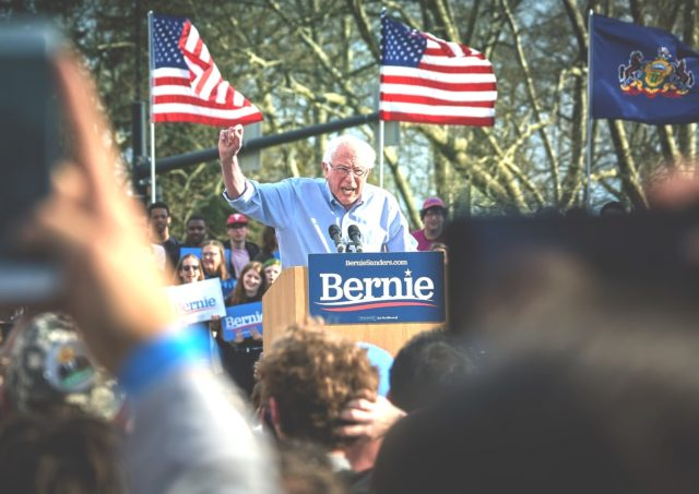 Bernie Sanders speaks to supporters on his plan to legalize weed
