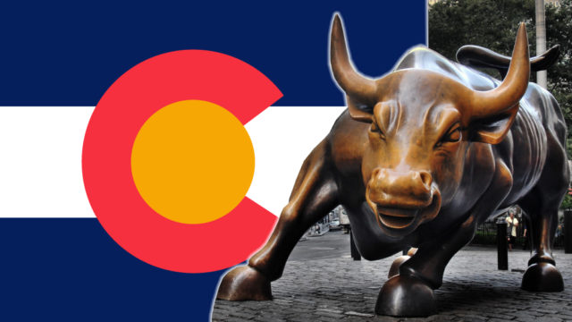 wall street bull in front of Colorado flag symbolizes public companies will soon be able to own cannabis companies